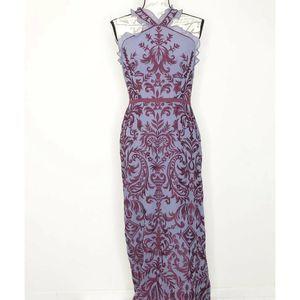 BCBGMaxazria Embroidered Baroque Halter Gown